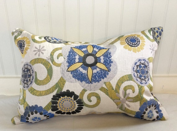 Yellow Blue Black Sage And Beige Floral Pillow Covers/