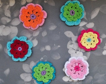 Handmade Crochet Flower Appliques-2inch-6pcs