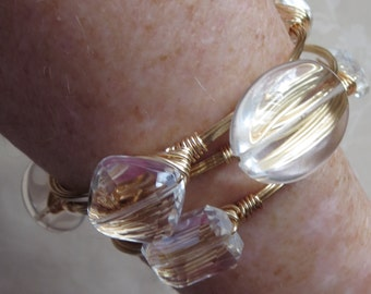 "Rock Crystal Quartz Bangle Bracelet  ""Bourbon and Bowties"" Inspired"