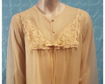 Vintage Gold Yellow Negligee Full Length Robe Sheer Piegnoir Nightgown Vanity Fair Small Medium Dressing Gown Honeymoon Wedding Night