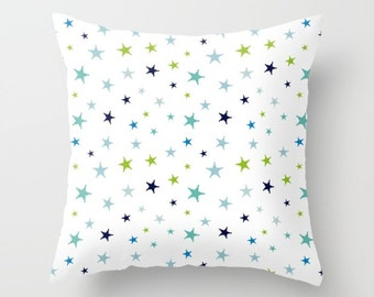 Stars Pillow, Nursery Decor Pillow, Nursery Pillow, Baby Boy Pillow, Green Stars Decor, Blue Stars Decor, Elegant Decor, Stars Pattern