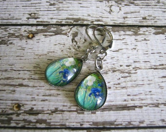 Van Gogh Iris Earrings : Glass Photo Jewelry