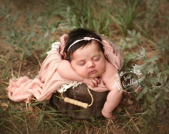 Adelle Pale Pink Tie Back with Pearl Newborn photography prop