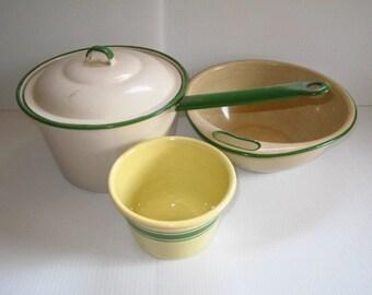 Vintage Cream and Green Enamelware Sauce Pan Lid 2 Mixing Bowls Lot
