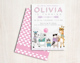 Hipster Zoo Animals Invitation for girls - Hipster Zoo Party  - Printable Party Supplies