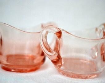 Miniature Pink Depression Glass Cream and Sugar Set, c. unknown