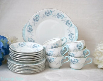 ON SALE Aynsley Las Palmas Tea Party Set With 6 trios, Handled Cake Plate, English Bone China 19 PC Tea Party, ca 1960