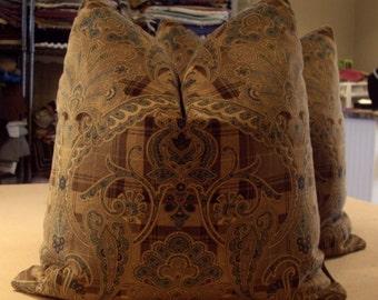 "Scalamandre Browns & Blue ""HIGHLAND FLING"" Hand Printed Paisley Cotton Velvet Custom Pillows Pair - Scalamandre Back - 20"" Square"