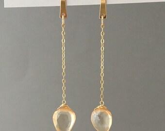 Gold Fill Spike Citrine Teardrop Earrings