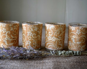 Decoupage Candle Holders // Votive or Tea Light //Amber Paisley with Vintage German Novel Pages// Handmade Gift // Set of 4