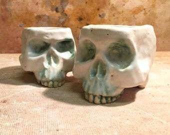 Set of 2 Skull Shot Glasses Sake Cups by Tony Furtado