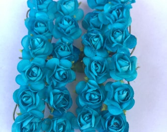 Set of 24 Turquoise Mulberry Paper Flowers