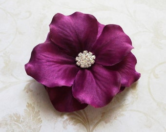 Purple Hydrangea Hair Clip, Purple Flower Hair Pin with Rhinestones, Bridesmaids Hair Clip, Hair Fascinator, Proms, Special Occasion