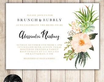 Brunch & Bubbly Bridal Shower Invitation, Succulent, Floral, Bridal Shower Brunch, Gold, Watercolor, DIY Custom- 15