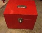Locking File Box Metal Vintage Orange with Keys
