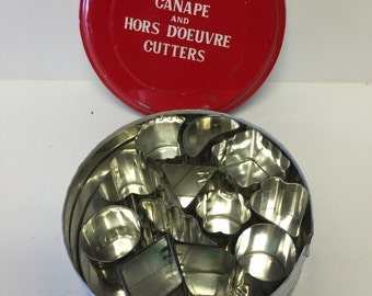 Vintage canapeand hors d'oeuvre cutter, mini cutters, cookie cutters
