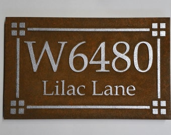 ADDRESS SIGN / HOUSE Marker with House number and Street Name Hand Painted to look Rusted