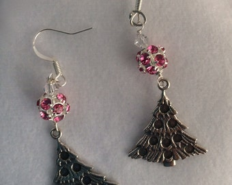 Rose Swarovski silver plated rhinestone ball with silver Christmas tree earrings - Sale