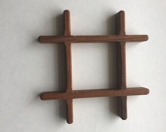 Danish modern teak trivet tick tack toe lattice shape / Dansk Trivet