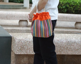 3 in 1 handbag / shoulder bag / crossbody bag ~ Colourful strips (A24)
