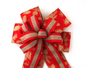 Christmas Bow, Red and Gold Burlap Bow, Christmas Wreath Bow, Christmas Tree Topper Bow