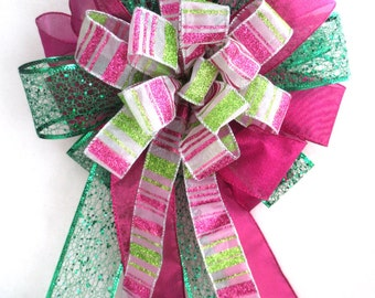Christmas Bow,  Tree Topper Bow / Christmas Tree Bow / Pink and Green Bow