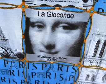 La Gioconde Scarf Museum of Louvre PARIS J Mico Sancho Signed Vintage Polyester With Tag