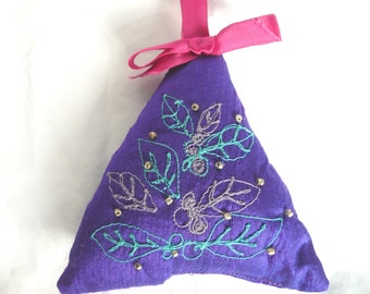 Hand made decoration - embroidered tree decoration - silk tree decoration - embroidered silk Christmas decoration - silk Christmas tree
