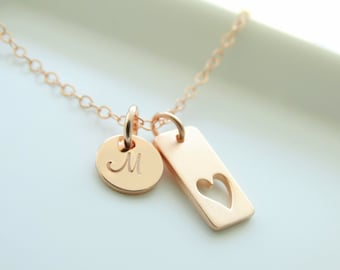 Heart Necklace Rose Gold Heart Necklace with Initial Love Necklace Personalized jewelry Mother's Necklace  Rose Gold necklace