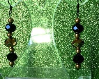 Black and Gold Earrings Crystal Dangle Earrings Dropper Earrings Pierced Earrings Ladies Jewellery Gifts for her
