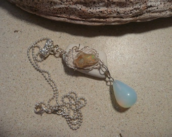 Sea pottery, sea coral, Welo opal and opalite dangle pendant necklace-FREE SHIPPING-