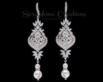 Bridal Earrings, Pearl Wedding Jewelry, Swarovski Pearls Cubic Zirconia Statement Wedding Earrings, White Cream Bridal Long Melinda K144