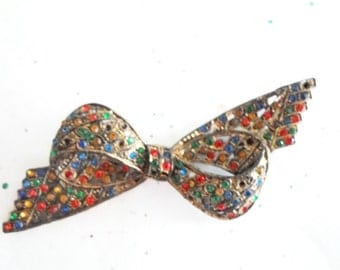 Vintage Mid Century Retro Kitsch Multi Colored Rhinestone Bow Pin Brooch Jewelry