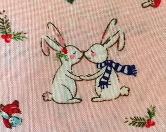 Pixie Noel Pink Bunny Christmas fabric by Riley Blake