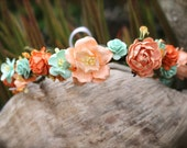 Orange and mint flower crown
