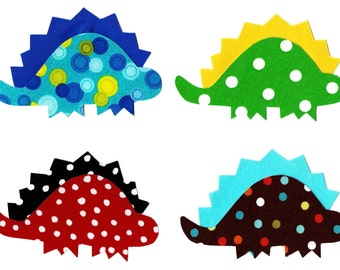 4 Iron on fabric dinosaur appliques DIY - baby shower appliques