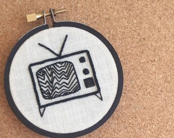 """Hoop Art """"Tune Out"""" • Embroidered Retro TV • Embroidery Wall Hanging / Home Decor 4"""" Frame"""