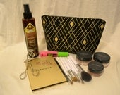 Cosmetic Bag, Make-up, Travel, Container, Case, Zip, Toiletry, Handmade, Gold, Black, Cotton, Purse, Clutch, Accessory, Bridesmaid Gift