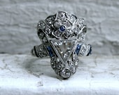 Amazing Vintage Art Deco Platinum Diamond and Sapphire Engagement Ring - 2.97ct.