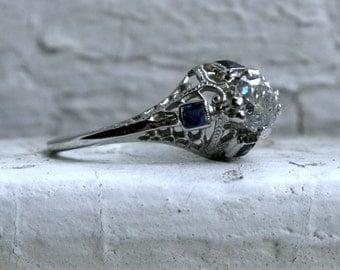 Amazing Vintage Filigree 18K White Gold Diamond and Sapphire Engagement Ring - 0.94ct.