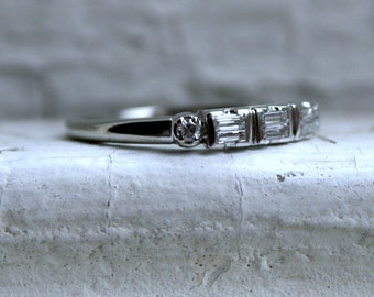 RESERVED - Fabulous Vintage 18K White Gold Baguette and Round Diamond Wedding Band - 0442ct.