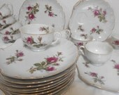 Vintage Moss Rose China Snack Sets, Teacups and Dessert Plates, Set of 11