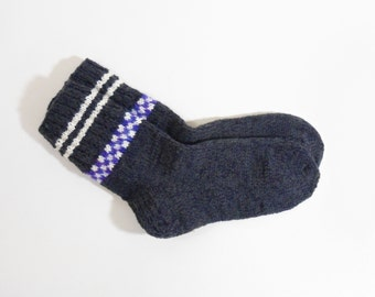 Hand Knitted Wool Socks - Gray and Dark Blue, Size Large
