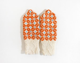 Hand Knitted Mittens - White and Orange, Size Small
