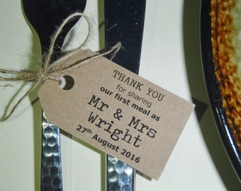 25 Personalised Vintage Typewriter Font Wedding Favour Gift Tags Thank You First Meal Label