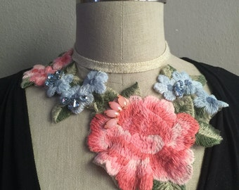 Embroidered Flower Statement Necklace
