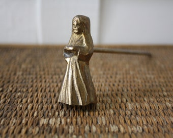Brass candle snuffer, nun shaped candle snuffer, solid brass, brass figurine, brass nun