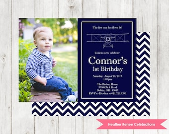 Airplane Birthday Party Invitation | Printable 1st Birthday Party Photo Invite | Plane First Birthday Digital File