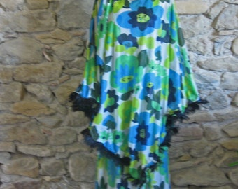 Floral kaftan dress blue green and yellow nylon drag queen's dress with ostrich feathers and sequins 1970s