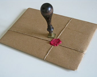 wax seal stamper, vintage French initial stamps